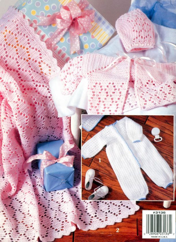 Baby Layette Sets Crochet French Knots Newborn Afghans+ |
