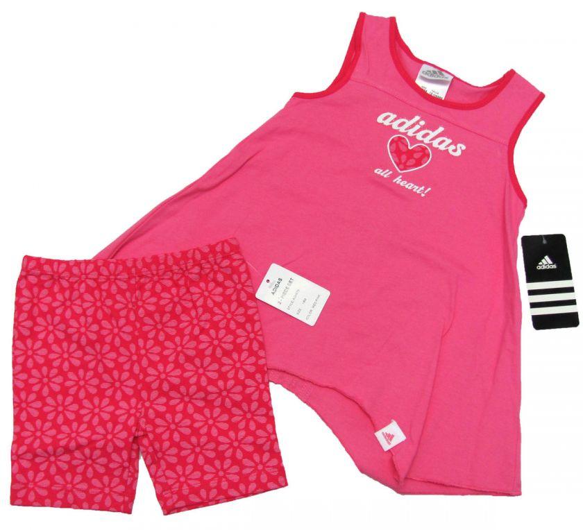 ADIDAS Baby Girls Bright Pink Tank Top Shirt & Floral Shorts Set NWT