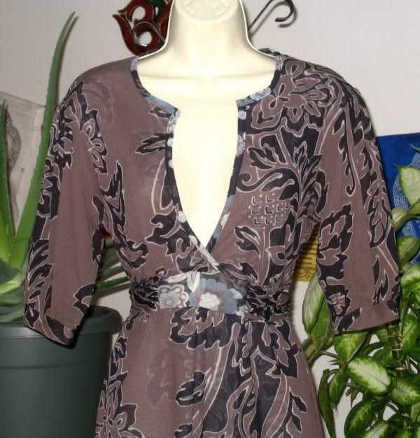 SWEET PEA Brown & Black Floral Print Stretch Mesh Empire Waist Top L
