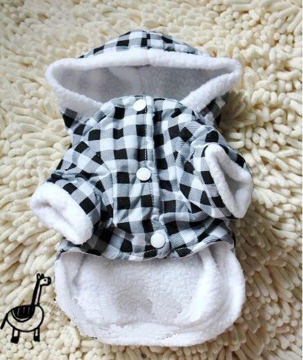 Pet Dog Puppy Apparel Warm Coat Black&White Check Bunny Clothes Winter