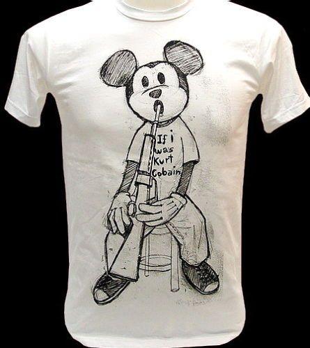 MICKEY If I was Kurt Cobain Nirvana VTG Rock T Shirt M