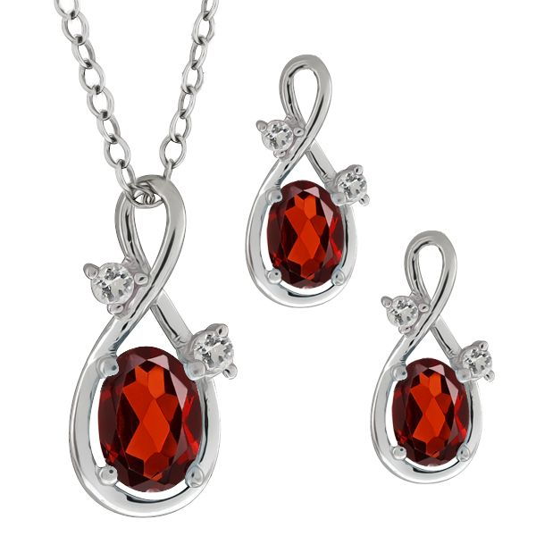 08 Ct Genuine Oval Red Garnet Gemstone Sterling Silver Pendant