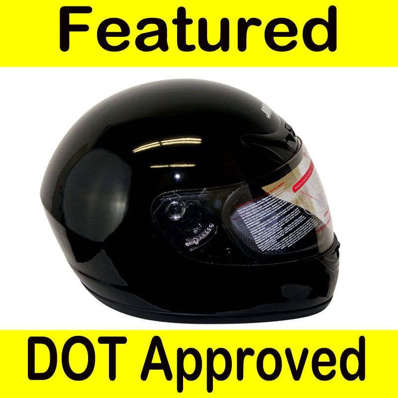 Motorcycle Full Face Sports Bike Street Helmet Gloss Black DOT Size XL