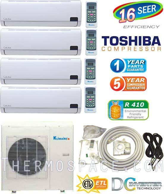 42000 BTU Ductless Mini Split Air Conditioner  9000 x 2 + 12000 x 2