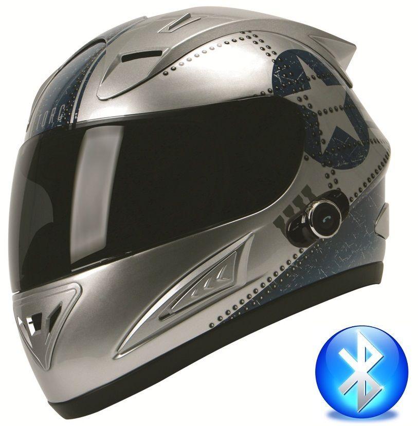 TORC Blinc Bluetooth Full Face Motorcycle Helmet DOT T10B Flight