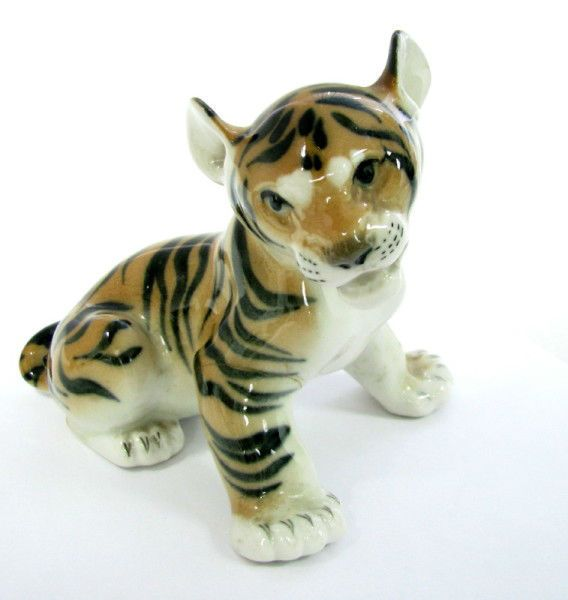 USSR RUSSIAN LOMONOSOV LFZ PORCELAIN TIGER FIGURE MARK