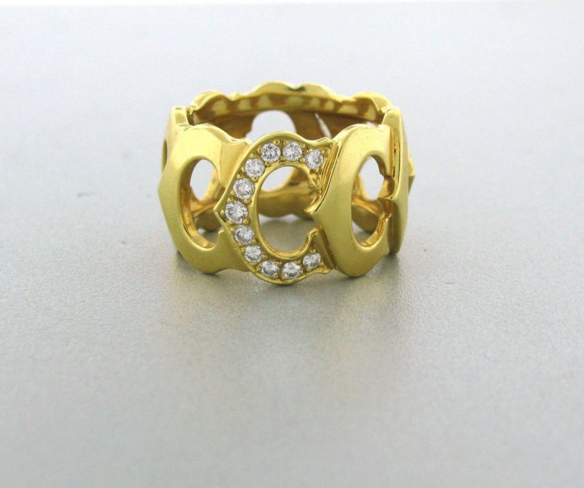 ESTATE SIGNATURE CARTIER C 18K YELLOW GOLD DIAMOND LOGO RING