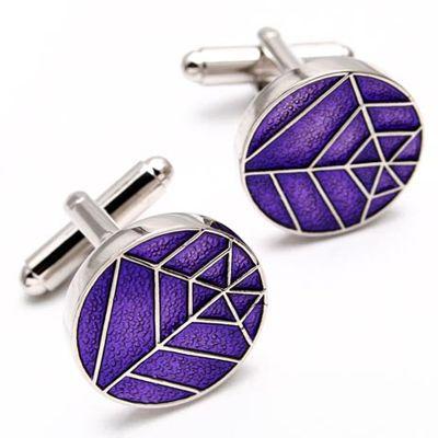special brand new purple elliptical SPIDER WEB shirt cufflinks